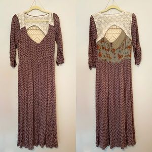Free People Floral Lace Peasant Maxi Dress